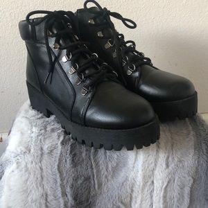 """Black ankle boots with 2"""" wedge"""